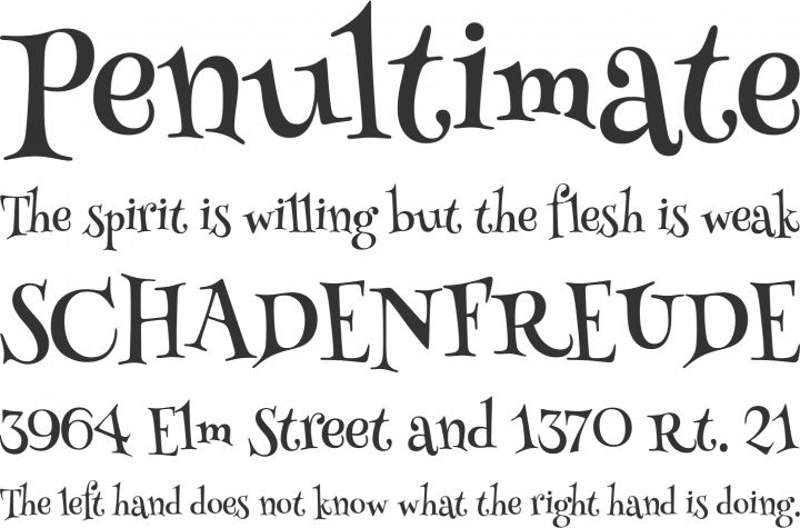 Henny Penny Font Phrases