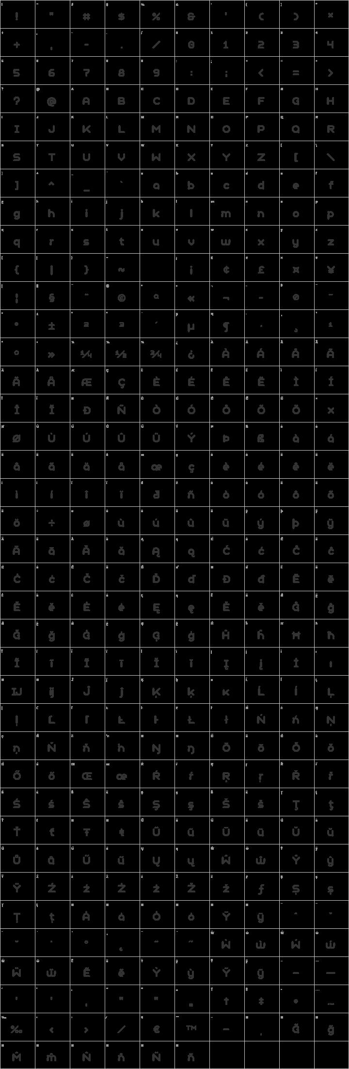 Geometry Soft Pro Glyph Map