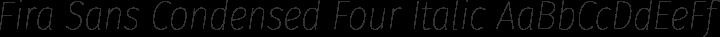 Fira Sans Condensed Four Italic free font